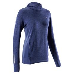 DAMESHOODIE RUN WARM BLAUW