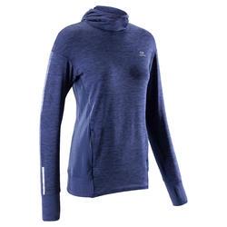 Hoodie voor hardlopen dames Run Warm blauw
