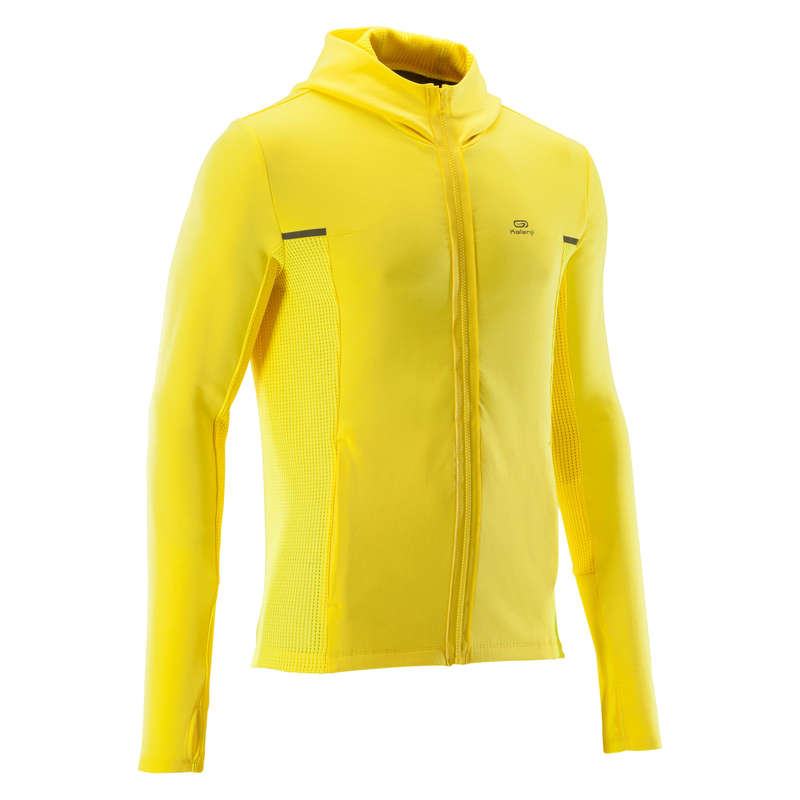 REGULAR MAN JOGGING COLD WTHR CLOTHES Clothing - RUN WARM+ JACKET YELLOW KALENJI - Tops