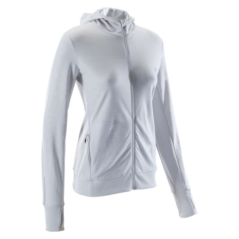 REGULAR WOMAN JOG COLD WEATHER CLOTHES Clothing - RUN WARM HOODED WOMEN'S JACKET KALENJI - Tops