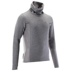 Sudadera de cuello alto running hombre RUN WARM+ gris chiné