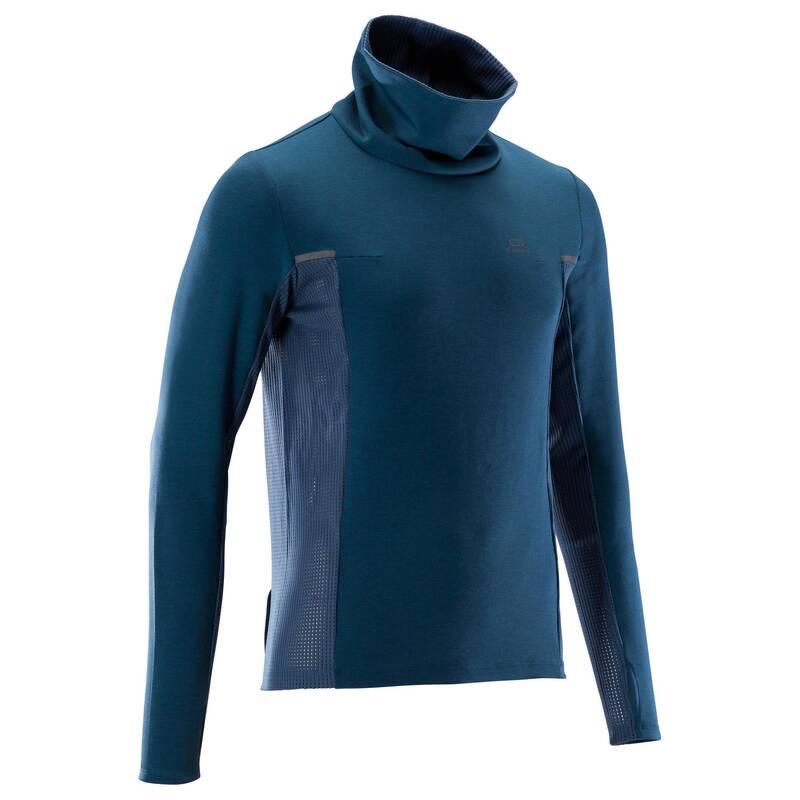 PÁNSKÉ OBLEČENÍ NA JOGGING, CHLADNÉ POČASÍ Běh - BĚŽECKÉ TRIČKO RUN WARM+ MODRÉ KALENJI - Běžecké oblečení