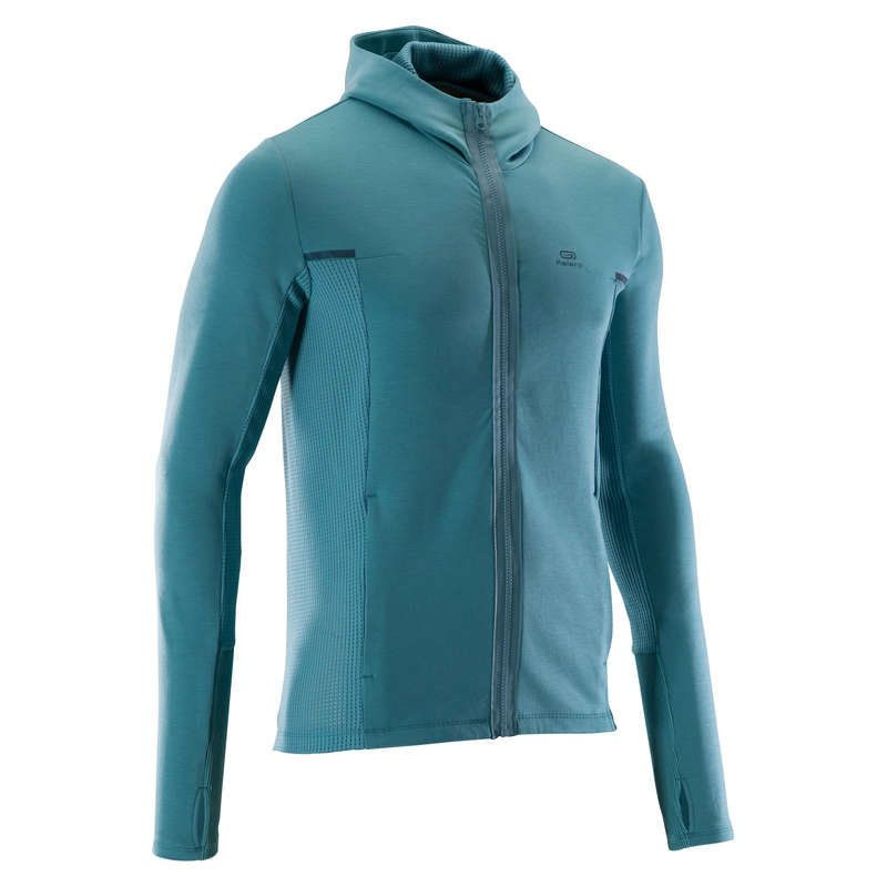 REGULAR MAN JOGGING COLD WTHR CLOTHES Clothing - RUN WARM+ JACKET GREEN KALENJI - Tops