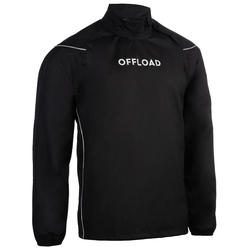Cortaviento impermeable Rugby Offload Smocktop R500 adulto negro