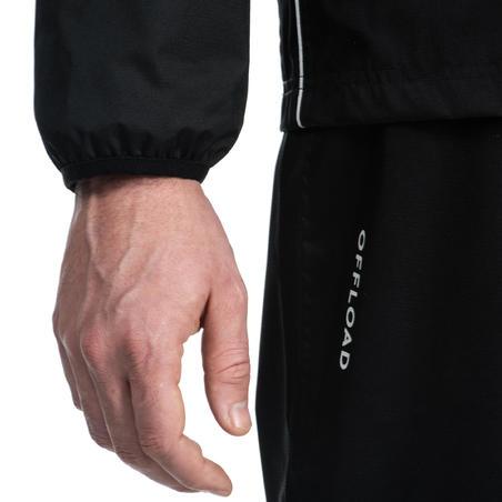 Вітровка R500 для регбі, для дорослих, водонепроникна - Чорна