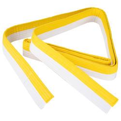 Band voor martial arts piqué 2,5 meter wit/geel