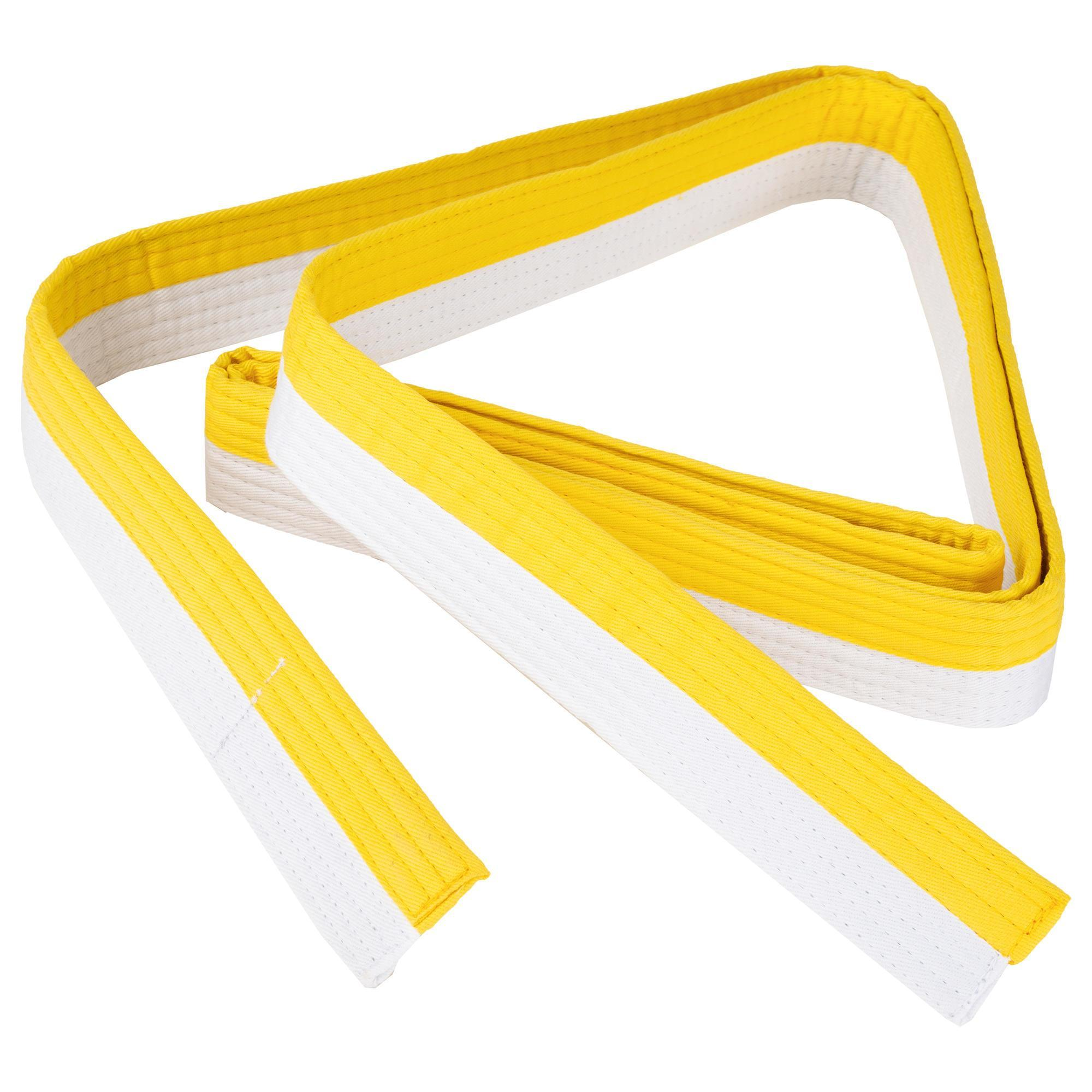 Outshock Judoband / Karateband 2,50 m, wit/geel