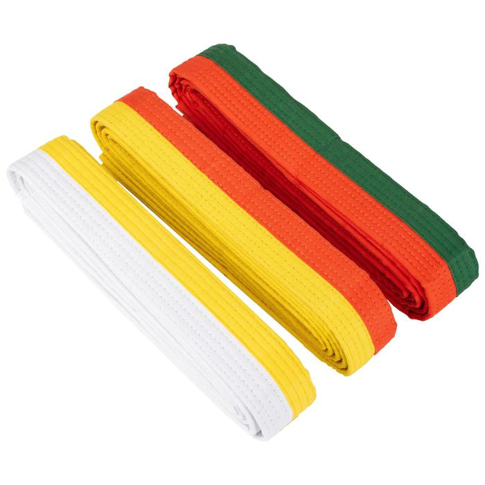 Judoband / Karateband 2,50 m, wit/geel