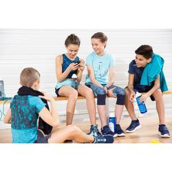 T-Shirt kurzarm atmungsaktive Baumwolle 500 GYM Kinder blau mit Print