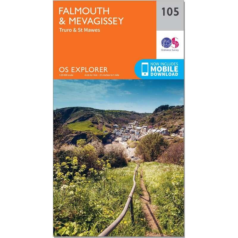 MAPS HIKING/TREK Hiking - OS Explorer Map - 105 - Falmouth & Mevagissey ORDNANCE SURVEY - Hiking Gear and Equipment