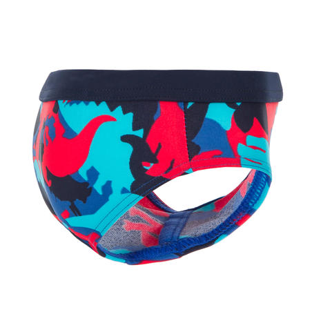 Red and blue baby's dino printed swimming briefs