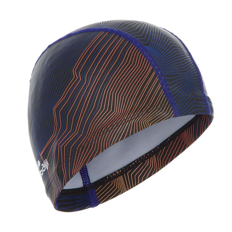 หมวกว่ายน้ำผ้าตาข่ายเคลือบซิลิโคนรุ่น 500 (พิมพ์ลาย สีกรมท่า/ส้ม)