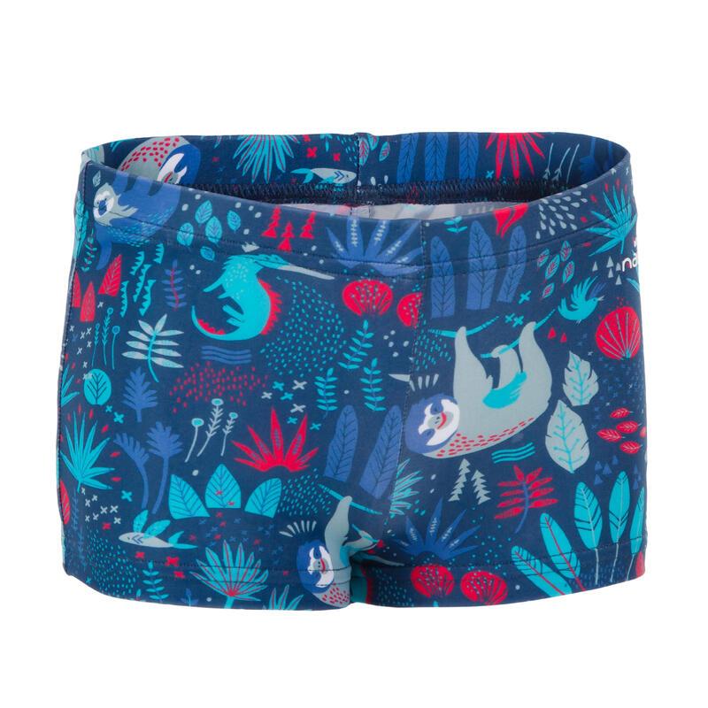 Dark blue baby boy's sloth print boxer swim shorts