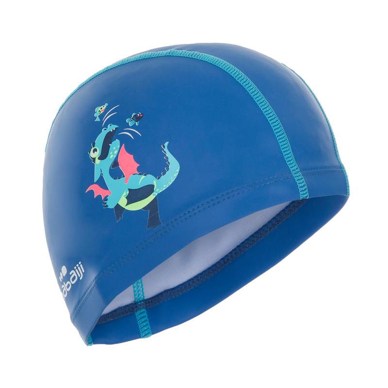 หมวกว่ายน้ำผ้าตาข่ายเคลือบซิลิโคนรุ่น 500 (พิมพ์ลายมังกร สีน้ำเงิน)