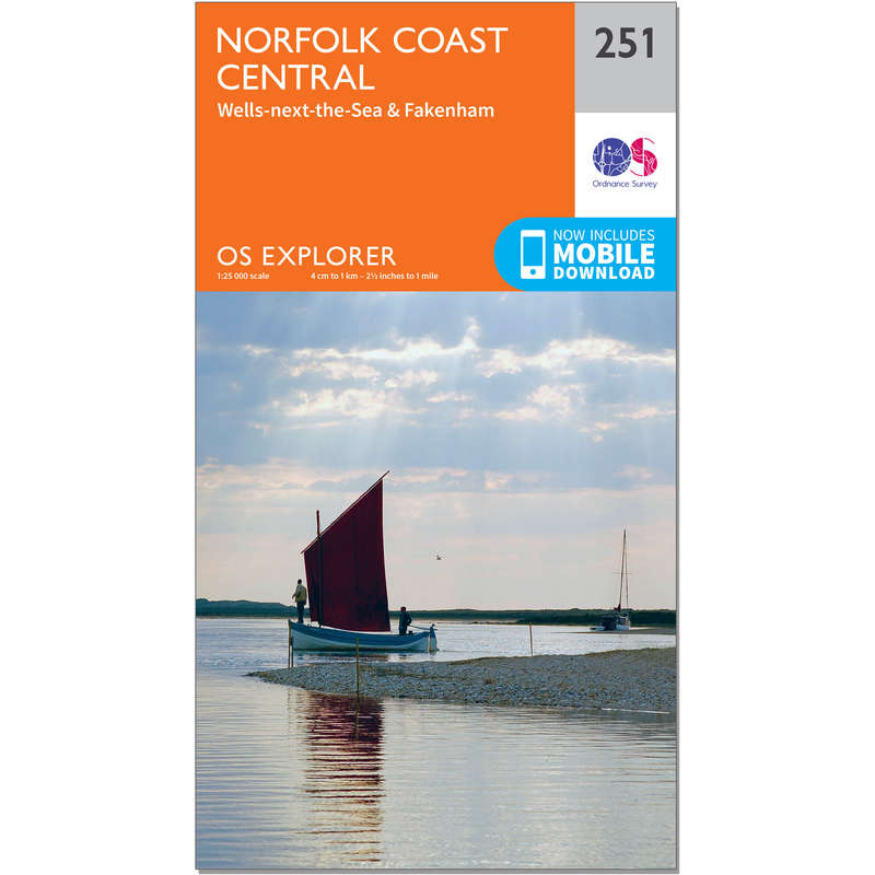 MAPS HIKING/TREK Hiking - OS Explorer Map - 251 - Norfolk Coast Central ORDNANCE SURVEY - Hiking Gear and Equipment
