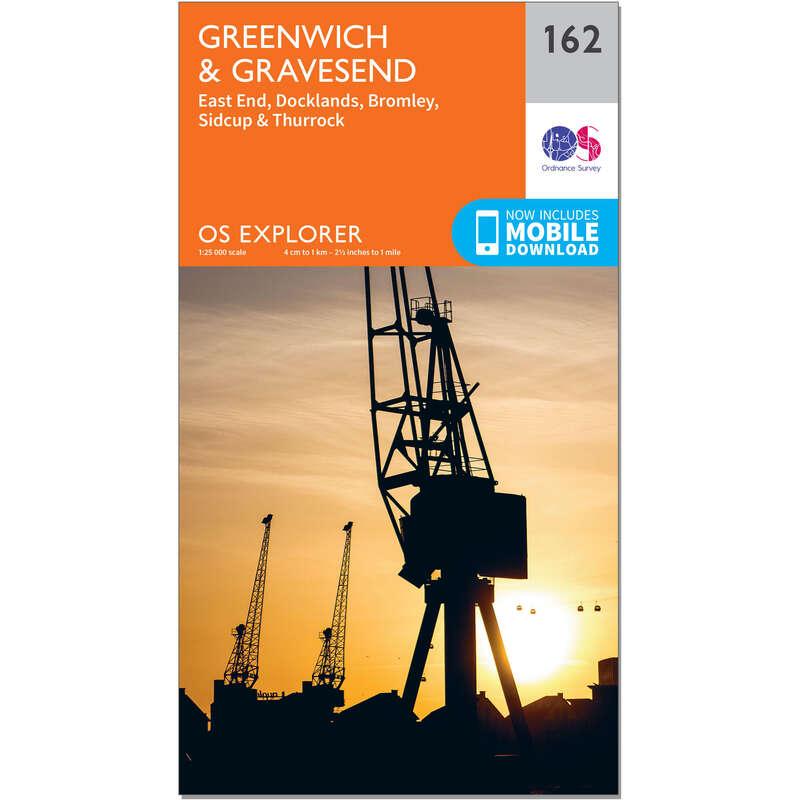 MAPS HIKING/TREK Hiking - OS Explorer Map - 162 - Greenwich & Gravesend ORDNANCE SURVEY - Hiking Gear and Equipment