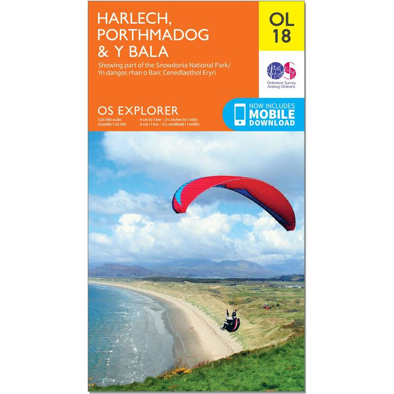 OS Explorer Leisure Map - OL18 - Harlech, Porthmadog & Bala