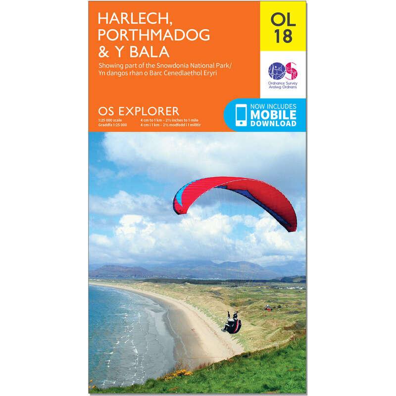 MAPS HIKING/TREK Hiking - OS Explorer Leisure Map - OL18 - Harlech, Porthmadog & Bala ORDNANCE SURVEY - Hiking Gear and Equipment