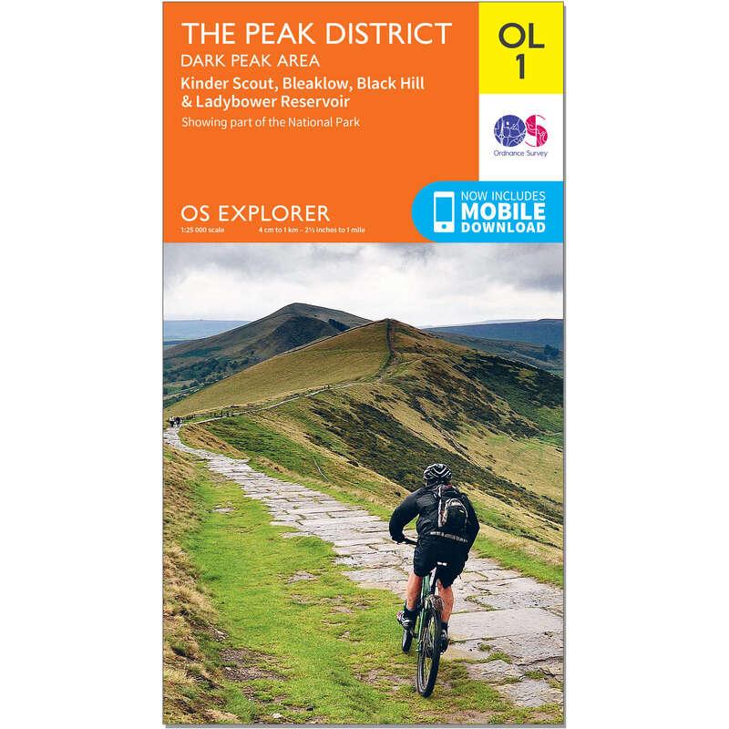 MAPS HIKING/TREK Hiking - OS Explorer Leisure Map - OL1 - The Peak District, Dark Peak area ORDNANCE SURVEY - Hiking Gear