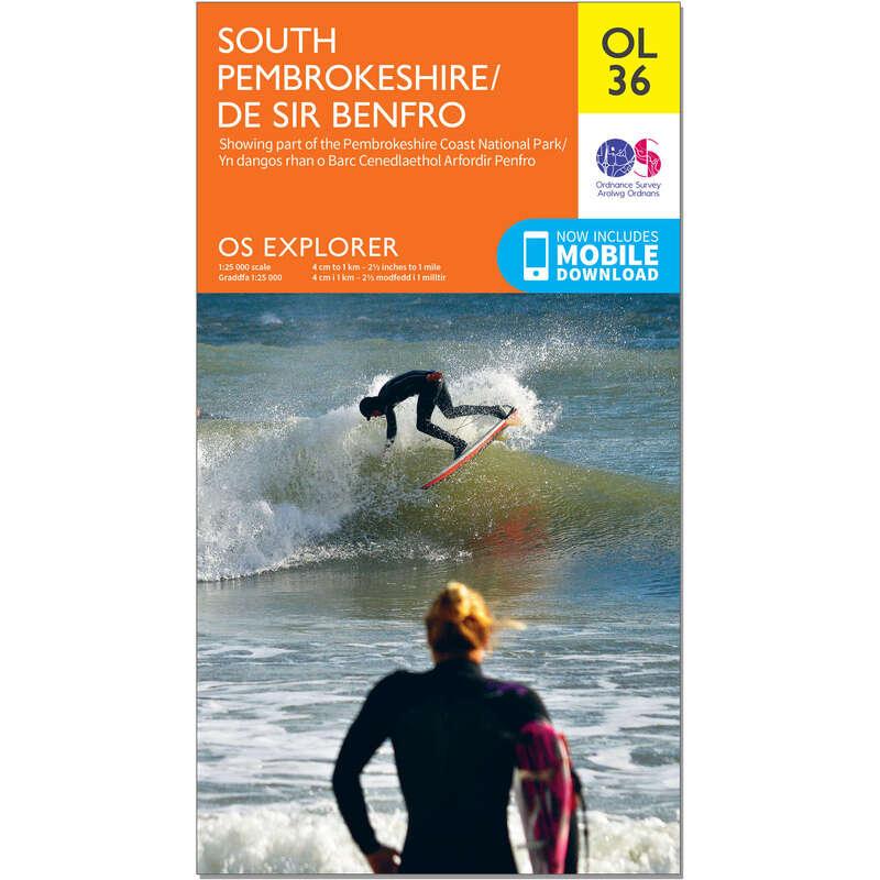 MAPS HIKING/TREK Hiking - OS Explorer Leisure Map - OL36 - South Pembrokeshire ORDNANCE SURVEY - Hiking Gear and Equipment