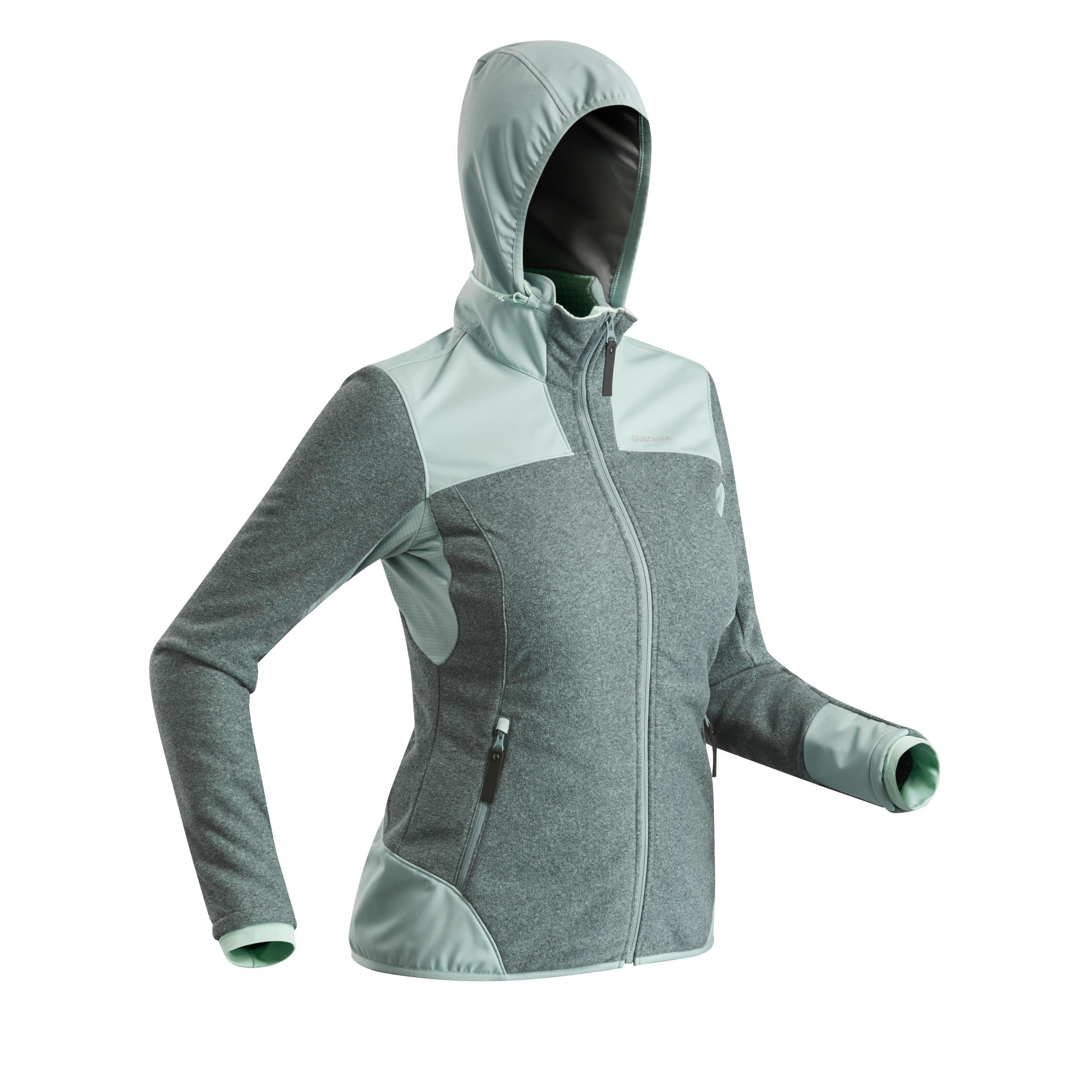 Fleecejacke Winterwandern SH500 Extra-Warm Damen grau/grün