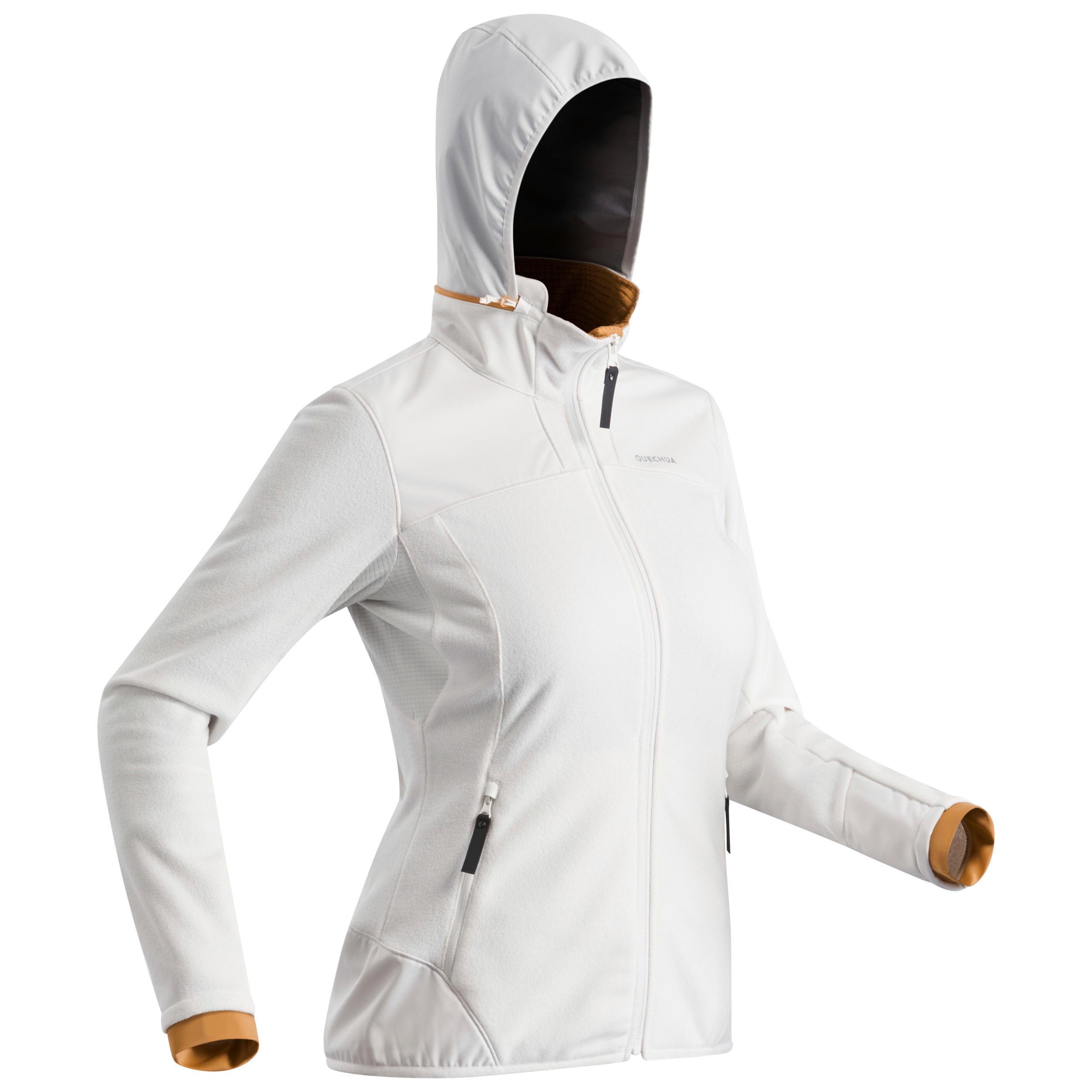 Fleecejacke Winterwandern SH500 Extra-Warm Damen weiß
