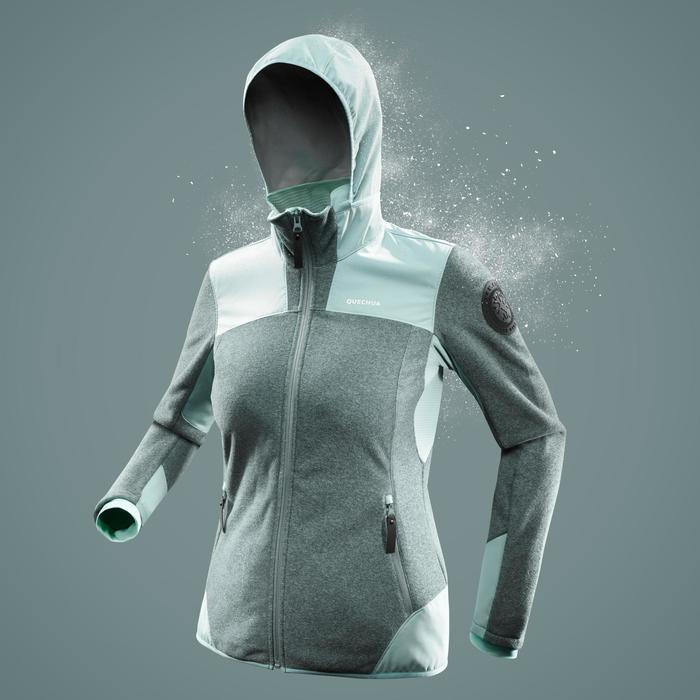 Veste polaire de randonnée neige femme SH500 x-warm gris-vert
