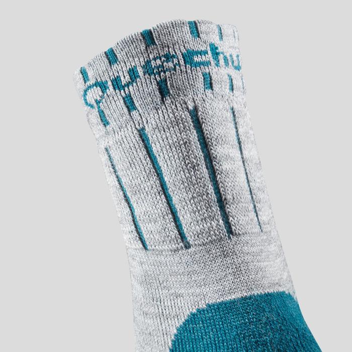 Chaussettes chaudes de randonnée enfant SH100 WARM mid gris bleues X 2 paires