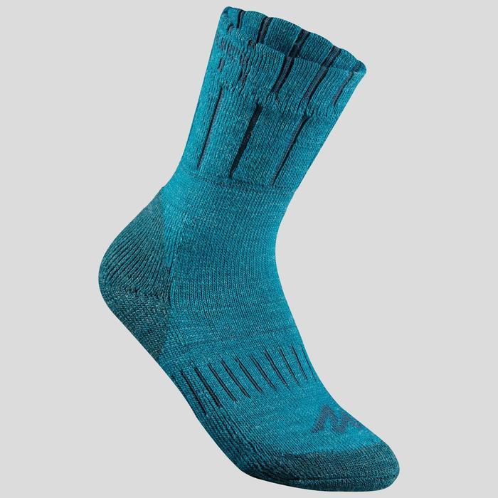 兒童款保暖雪地健行中筒襪SH100-灰色/藍色。