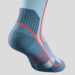 Chaussettes chaudes de randonnée enfant SH520 x-warm bleues/mauves