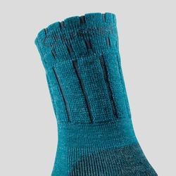 Warme wandelsokken kinderen SH100 Warm mid grijs/blauw