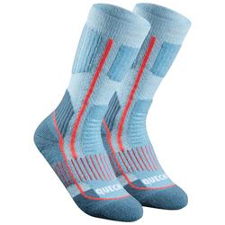Calcetines cálidos de senderismo júnior SH520 x-warm azul/malva