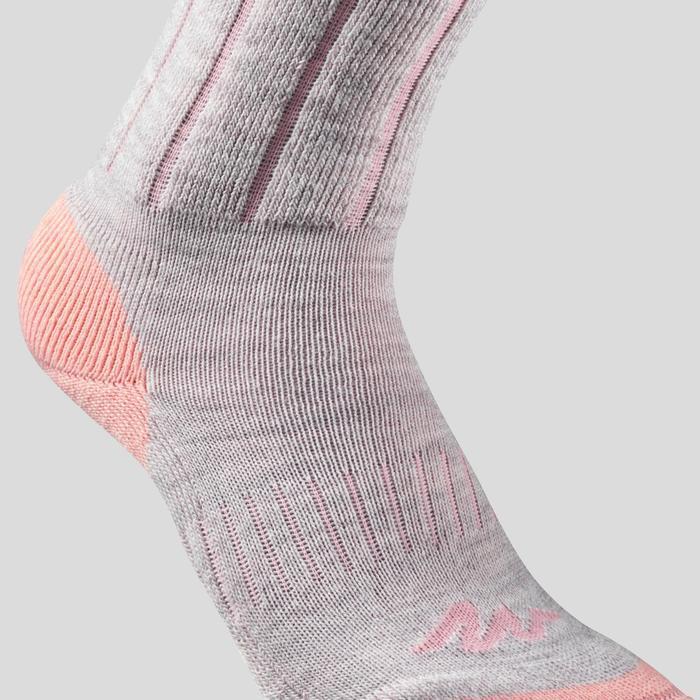 Children's warm Mid hiking socks SH100 WARM - Coral Grey X2 pairs