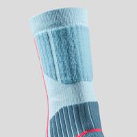 Chaussettes de randonnée neige SH520 x-warm bleues/mauves - Enfant
