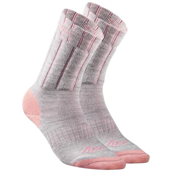 兒童款保暖雪地健行中筒襪SH100-珊瑚紅/灰色。
