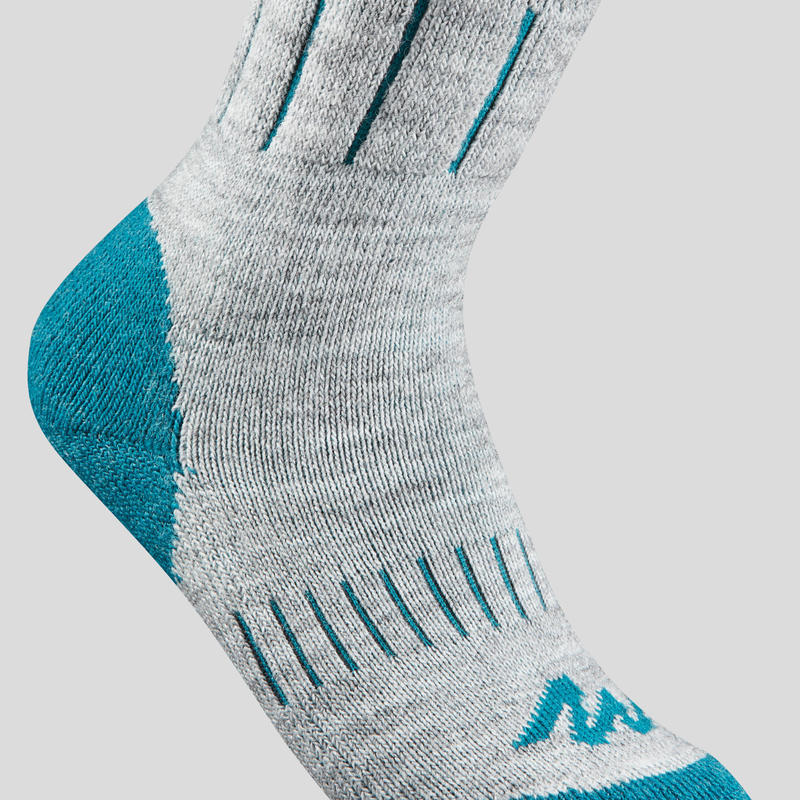 Chaussettes de randonnée neige enfant SH100 WARM mid gris bleues.