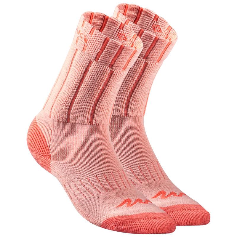 Children's Snow Hiking Socks SH100 Warm Mid - Coral Grey.
