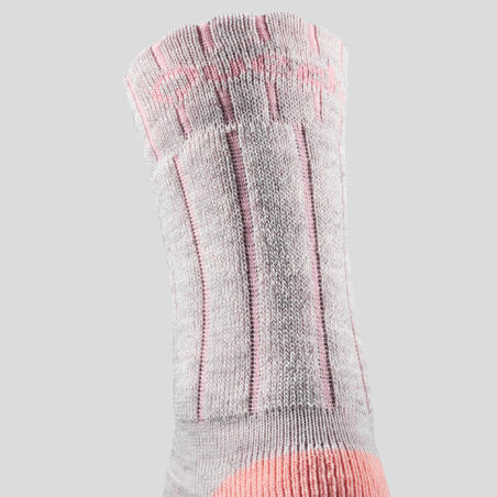 Children's Snow Hiking Socks SH100 Warm Mid - Coral Grey.