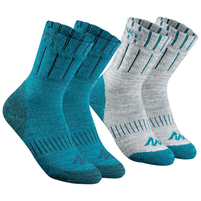 CHILDREN SNOW HIKING GLOVES & WARM SOCKS Hiking - Mid Sock SH100 Warm - Blue QUECHUA - Outdoor Shoe Accessories