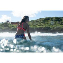 Braga Bikini Surf Pequeña Olaian Niki Mawa Mujer Plisado Lateral Negro Coral