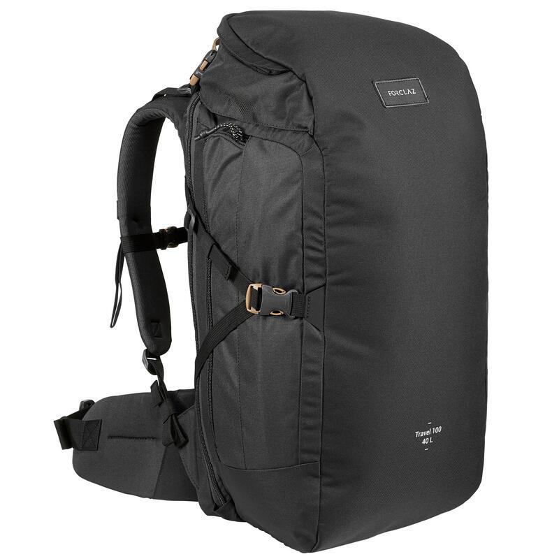 Rugzak voor backpacken Travel 100 40 liter zwart