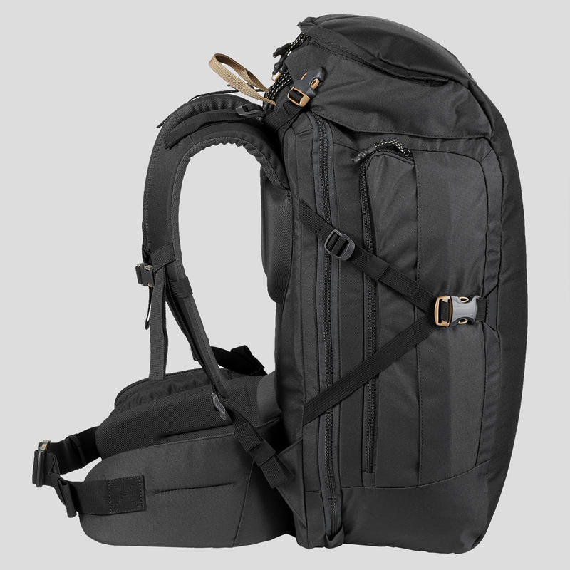 Compact 40 Litre Trekking Travel Backpack _PIPE_ TRAVEL 100 - Black