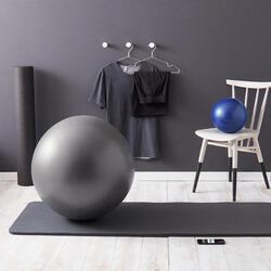Gymnastikball berstsicher und stabil Pilates grau