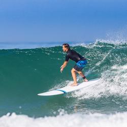 Tabla Surf Epoxi Longboard Olaian 500 8,2' Adulto Blanco Azul Quillas