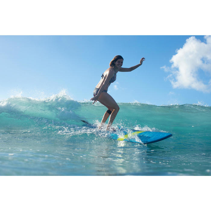 Top Bikini Surf Sujetador Push Up Olaian Elena Mujer Copas Fijas Negro Flores
