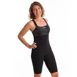 Women's Aquafitness Long Playsuit One-Piece Swimsuit Anna - Black Square