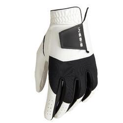 Stevige golfhandschoen voor heren rechtshandig wit/zwart