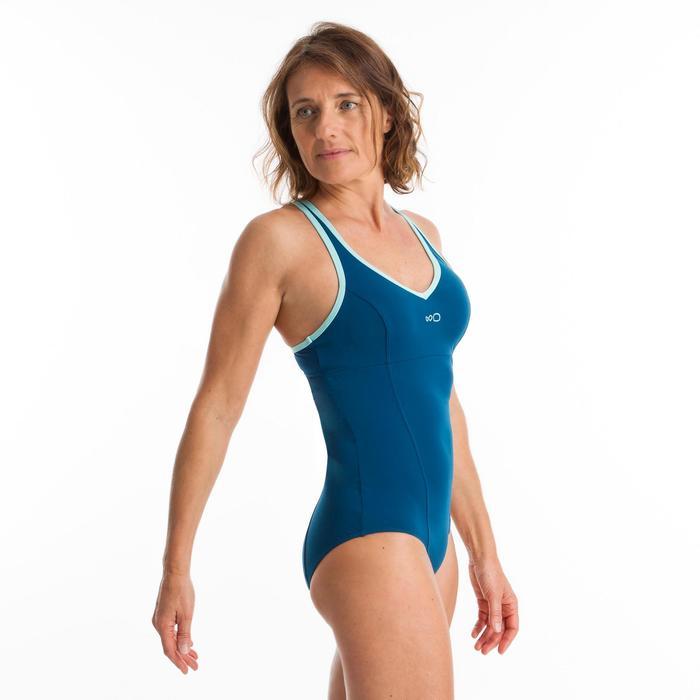 Maillot de bain une pièce d'Aquafitness femme Lou bleu