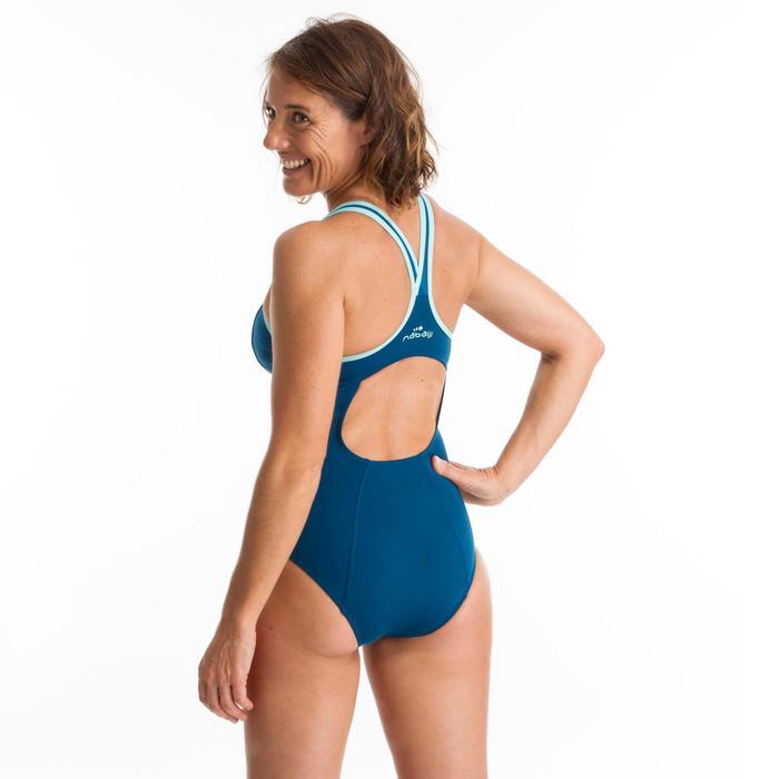 Eendelig badpak voor aquafitness dames Lou blauw