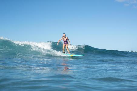 Traje de baño deporte Surf Olaian Clea Mujer Espalda Abierta Anudado Palmeras